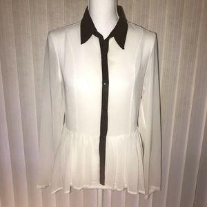 Olsenboye Black White Sheer Chiffon Button Up Top